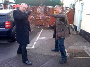 Our heroes guarding the parking space!